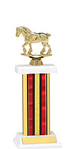 "12-14"" Red Trophy with Rectangular Column"