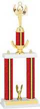 "18-20"" Red and Gold Trophy with Double Column Base"