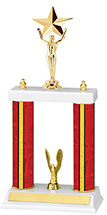 "13-15"" Red Trophy with Double Columns"