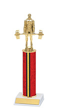 "10-12"" Red and Gold Trophy with Round Column"