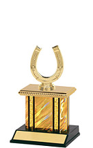 Holographic Gold Trophy with Rectangular Column - 9""
