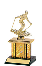 """Holographic Gold Trophy with Rectangular Column - 9"""""""