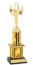 Holographic Gold Trophy with Twin Column - 12""