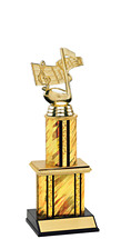 """Holographic Gold Trophy with Twin Column - 12"""""""
