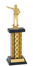 """12-14"""" Black & Gold Holographic Trophy with Rectangular Column"""