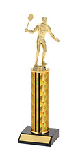 "10-12"" Holographic Black & Gold Round Column Trophy"