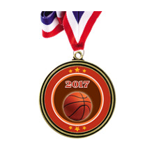 "2"" Antique Gold 2017 Basketball Medal w/30"" Red, White and Blue Neck Ribbon"