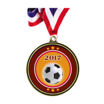 "Soccer Medal - 2 1/2"" Antique Gold 2017 Soccer Medal w/30 in. Red White and Blue Neck Ribbon"