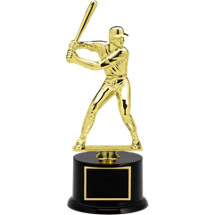 "Baseball Trophy - 12 1/2"" Black Acrylic Trophy with Male Baseball Batter Figure"