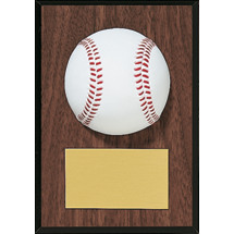 Baseball Plaque - Wood-Tone Baseball Plaque with Molded Baseball