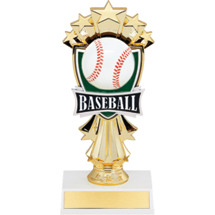 "Baseball Trophy - 7 1/2"" Baseball and Stars Trophy"