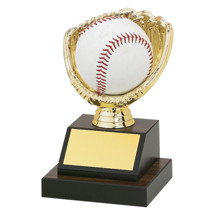 "Baseball Trophy - 5 1/2"" Walnut-tone Base with an Open Gold Baseball Glove to Fit a Baseball"