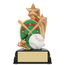 Baseball Trophy - Baseball and Stars Resin Trophy