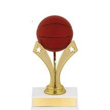 "Basketball Trophy - 6"" Basketball Trophy with a Star Riser"