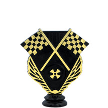Crossed Racing Flags Trophy Figure