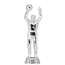 Basketball Center Male Silver Trophy Figure