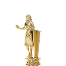 Female Speaker w/ Podium Gold Trophy Figure