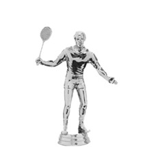 Tenns w/Racquet Male Silver Trophy Figure