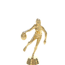 Female Basketball Dribbler Gold Trophy Figure