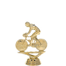Female Bicycle w/ Rider Gold Trophy Figure