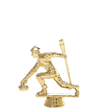 Male Curling Gold Trophy Figure