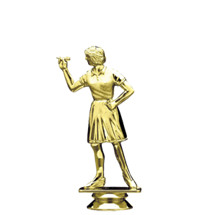 Female Dart Thrower Overhand Gold Trophy Figure