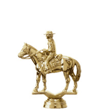 Western w/Ricer Horse Gold Trophy Figure