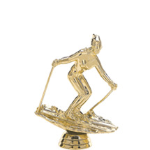 Downhill Skier Female Gold Trophy Figure