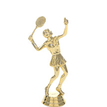 Tennis w/Racquet Female Gold Trophy Figure