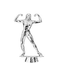Body Building Female Silver Trophy Figure
