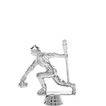 Curling Female Silver Trophy Figure