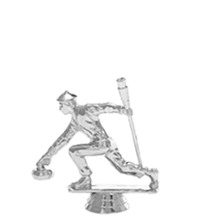 Curling Male Silver Trophy Figure