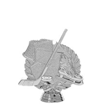 Ice Hockey Skate & Net 3-D Silver Trophy Figure