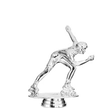 Inline Skater Female Silver Trophy Figure