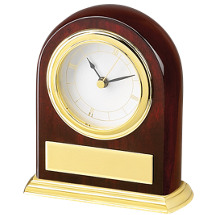 "3 3/4 x 5 x 1 1/8"" Executive Quartz Clock w/Brass Plate"