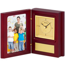 Folding Photo Holder w/Quartz Clock - 4 x 5 1/2""