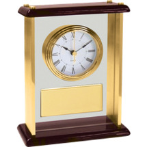 Glass and Brass Rosewood Desk Clock w/Gold Plate - 7 1/4 x 9 1/8""