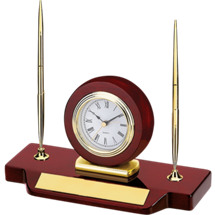 "DINN DEAL! 4 x 9"" Rosewood Double Pen/Clock Deskset"