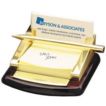 Business Card Memo Holder with Pen - Desk Set