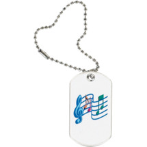 "1 1/8 x 2"" White Music Tag with Key Chain"