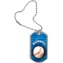 "Baseball Dog Tag - 1 1/8 x 2"" Baseball Sports Tag with Key Chain"