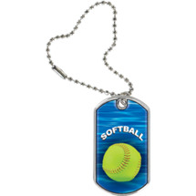 Softball Dog Tag - Softball Sports Tag with Key Chain
