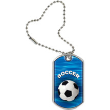 Soccer Dog Tag - Soccer Sports Tag with Key Chain