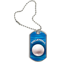 "1 1/8 x 2"" Volleyball Sports Tag with Key Chain"