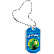 "1 1/8 x 2"" Bowling Sports Tag with Key Chain"