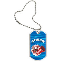"1 1/8 x 2"" Cheer Sports Tag with Key Chain"