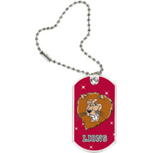 "1 1/8 x 2"" Lions Mascot Sports Tag with Key Chain"