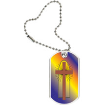 "1 1/8 x 2"" Religious Tag with Key Chain"