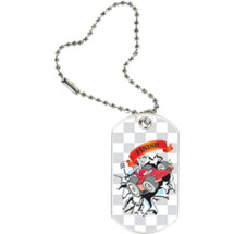 """1 1/8 x 2"""" Pinewood Derby Tag with Key Chain"""