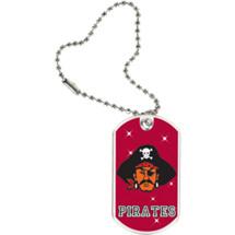 "1 1/8 x 2"" Pirates Mascot Sports Tag with Key Chain"